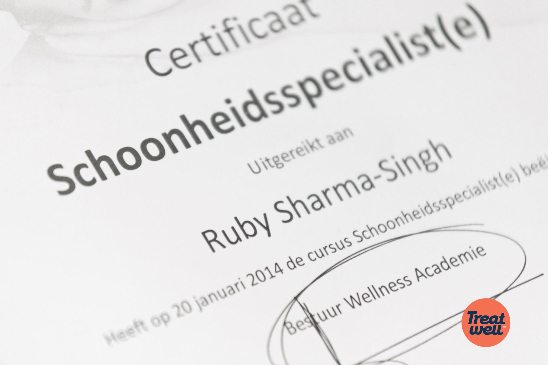 Certificaat Schoonheidsspecialiste